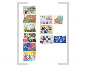 18. Bildtafel - Bildcollage und Zeichnung